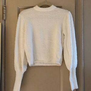 Zara cropped puff sleeve fuzzy sweater XS